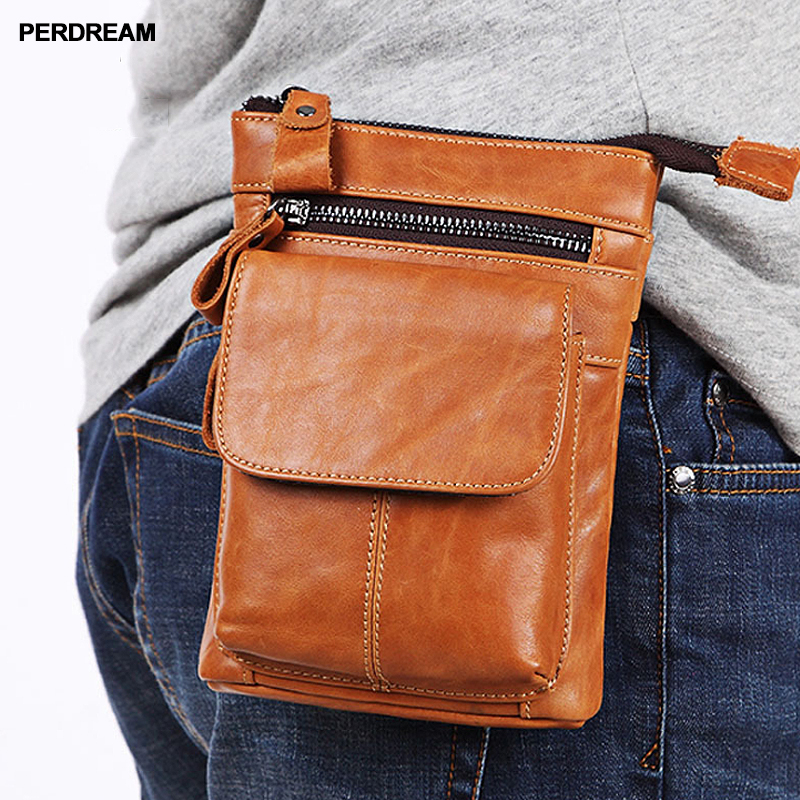 Men's pockets Leather belt mobile phone bag With shoulder straps First layer cowhide multi-function business bag