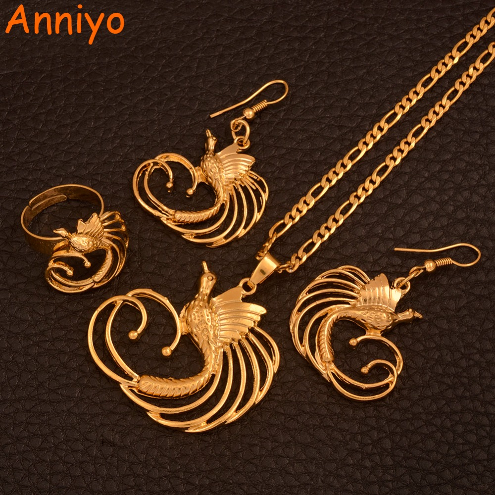 Anniyo PNG Bird of Paradis Pendant & Necklaces & Earrings & Ring for Women,Papua New Guinea Ethnic Bird Jewellery Sets #109506