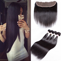 Brazilian Hair With Lace Frontal Closure Straight Brazilian Hair With Frontal 4 Bundles With Frontal Closure Straight 10 Inches