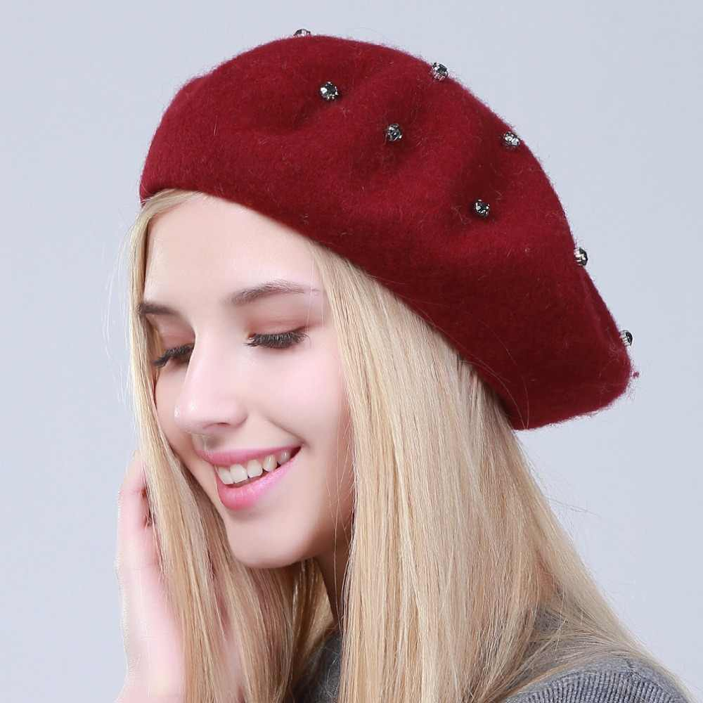 ef55fa64 ... Geebro Women's Beret Hat Fashion Solid Color Wool Knitted Berets With  Rhinestones Ladies French Artist Beanie ...