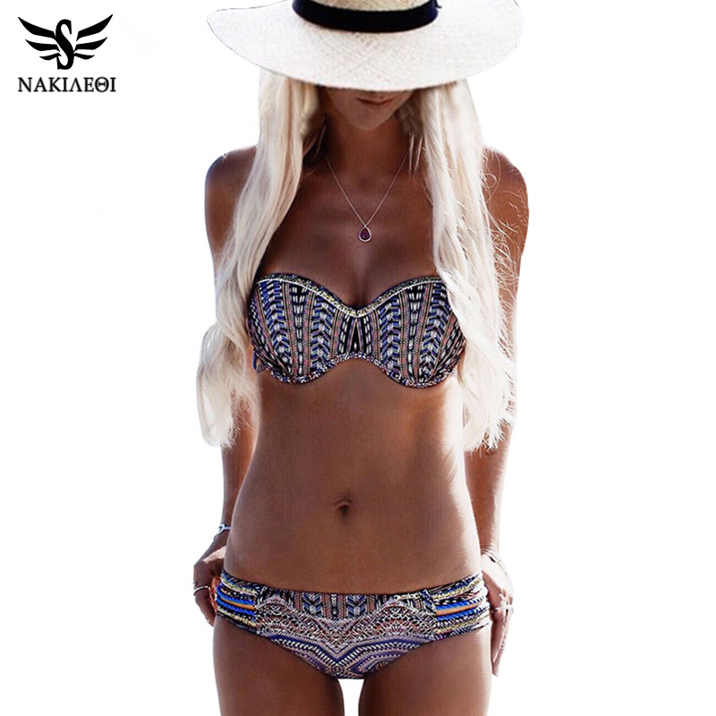 NAKIAEOI Bikinis Women Swimsuit Push Up Swimwear Women 2018 Sexy Bandeau Print Brazilian Bikini Set Beach Bathing Suit Swim Wear