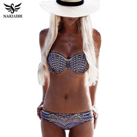 NAKIAEOI Bikinis Women Swimsuit Push Up Swimwear Women 2016 Sexy Bandeau Print Brazilian Bikini Set Beach