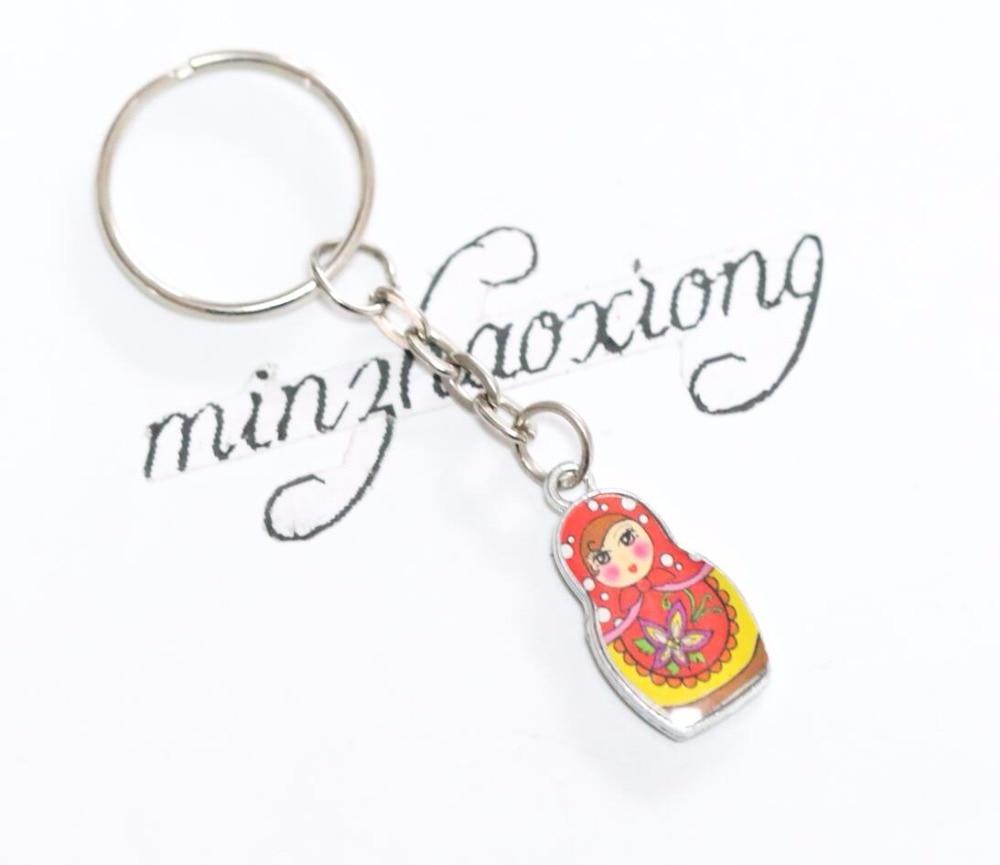 10pcs Fashion Jewelry Drip Charm Key Chains Enamel Antique Silver Matryoshka Russian Dolls Key Rings Keychains Decorative Gifts