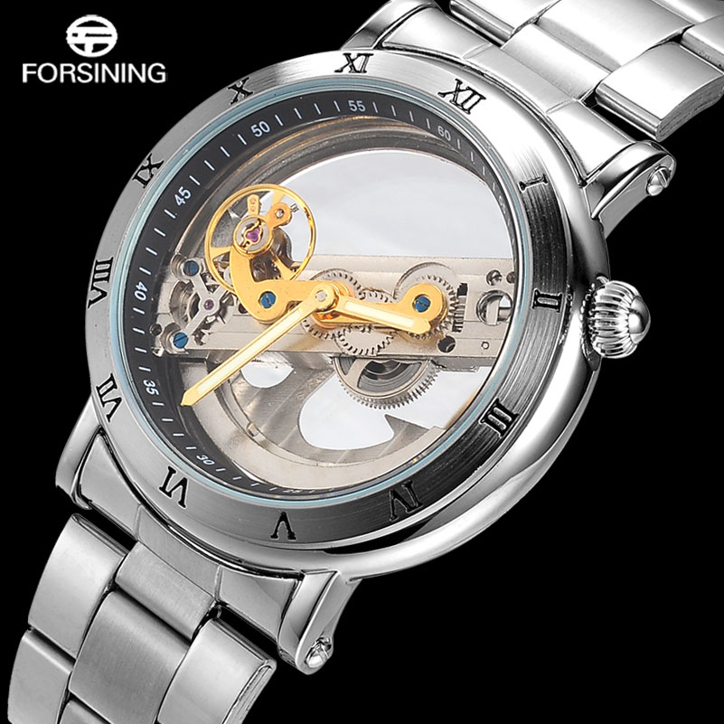 FORSINING Mens Sport Watches Men Full Stainless Steel Skeleton Mechanical Watch Man Creative Self-Wind Clock Relogio Masculino forsining automatic tourbillon men watch roman numerals with diamonds mechanical watches relogio automatico masculino mens clock
