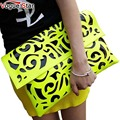 Vogue Star Hot Sale Fluorescence Color Hollow out Envelope Bags Women's Candy Color Shoulder Handbags Day Clutch Bags YA40-28
