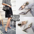 Sexy pointed toe high-heeled shoes belt thick heel sandals female toe cap covering sandals female high-heeled slippers