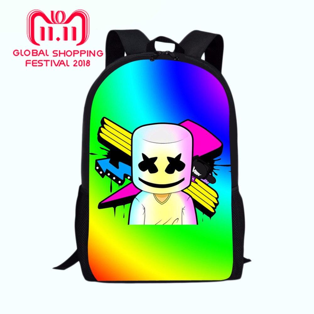 172feb88a2a6 Junior Printing School Bags Marshmello rugzak BoysGirls School Supplies  Bagpack Mask DJ Satchel Backpack For Teenage Girls