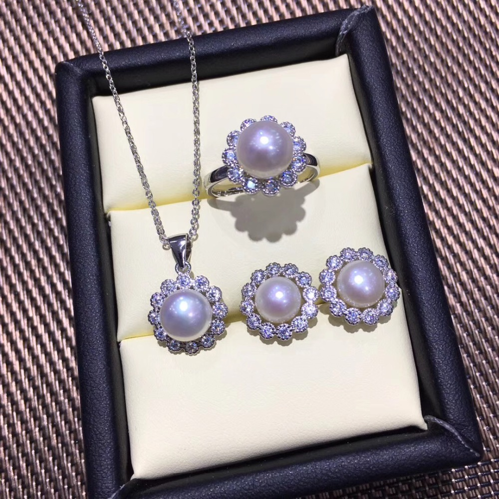Trendy Pearl Pendant Earrings Ring Set Mountings Findings Settings Jewelry Set Parts Fittings Charm Accessories for