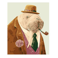 RIHE Smoking Seal Paint Painting By Numbers Diy Picture Drawing Coloring On Canvas Hand Wall Number Animal