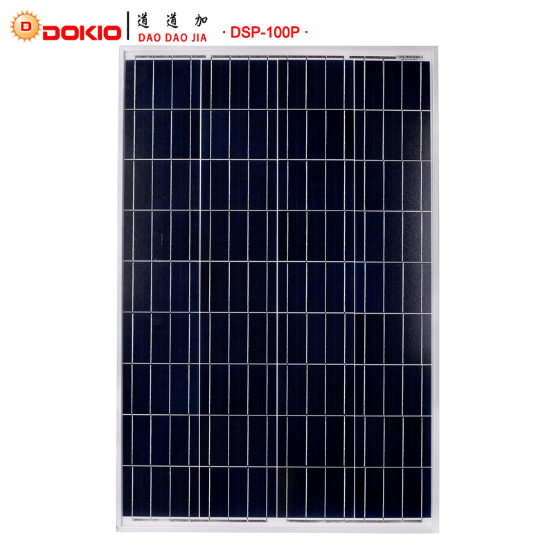 Dokio Brand 100W Polycrystalline Silicon Solar Panel China 18V 1012x660x30MM Size Panel Solar Top quality Solar