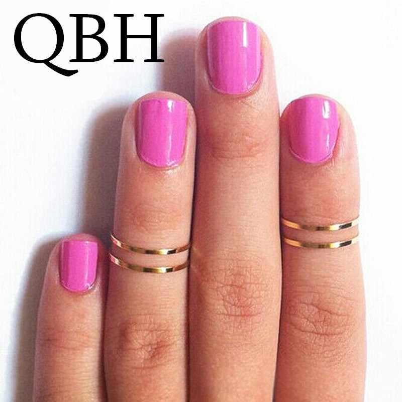 Anel punk de bronze polido, anel g024 1 peça de ponta intermediária, para casamento e mulheres joias,