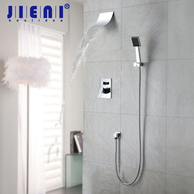 JIENI Mordern Waterfall Shower Faucet Set With Hand Spray Chrome Finish Wall Mount Shower Mixer Taps wall mount 10 inch thermostatic bathroom shower faucet mixer taps dual handle with hand held shower chrome finish