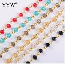 6mm Handmade Abacus Glass Beads Golden Chains for Neckalces Bracelets Making DIY Jewelry Findings 39.3(1m)/Strand 5Strands/lot