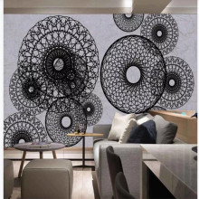 Custom wallpaper circle black and white line European pattern decorative painting mural high-grade waterproof material