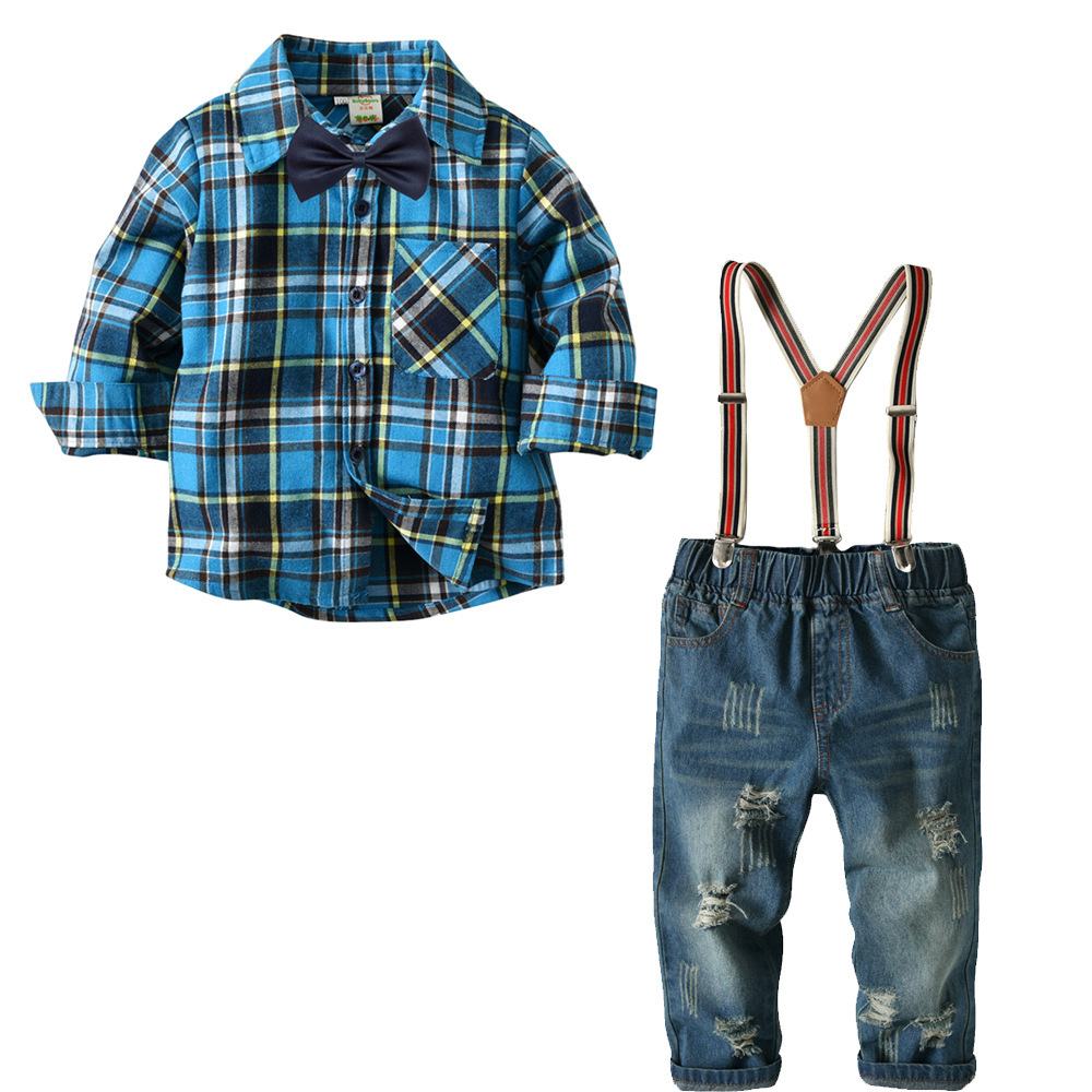 Spring 2018 Baby Boy Cloths Plaid Two Sets Childrens Clothing Boy Plaid Long-sleeved Shirt Jeans Pants Suit Cross-border Europe