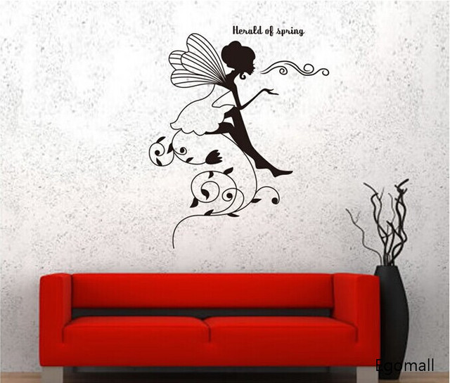 removable diy creative black flower faerie wall stickers baby