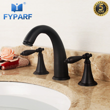 FYPARF Waterfall Basin Faucet Brass Basin Mixer 3 Hole Bathroom Sink Faucet Deck Mounted Cold Hot Vintage Sink Faucet Mixer Taps free shipping four sets of bathrooms ceramics brass faucet double knobs 4 hole deck mounted sink faucet hot cold mixer tap