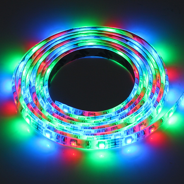 USB Powered DC 5V LED Color Rainbow Strip Light 60leds/m 3258 RGB Waterproof Tape for TV Background Lighting with Remote Control LED Strips