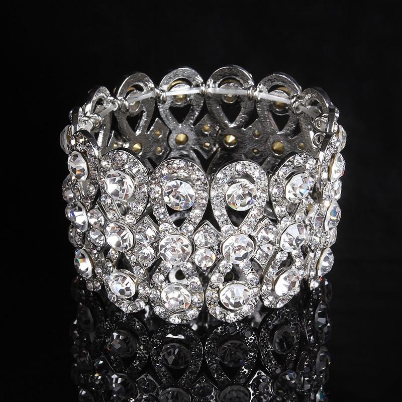 SLBRIDAL Art Deco Gümüş Renk Rhinestones Kristaller Streç - Kostüm mücevherat - Fotoğraf 1