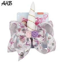 8 Large Hair Bows for Girls Unicorn Print Ribbon Bowknot Clips Handmade Flower Horn Hairgrips Party Kids JOJO