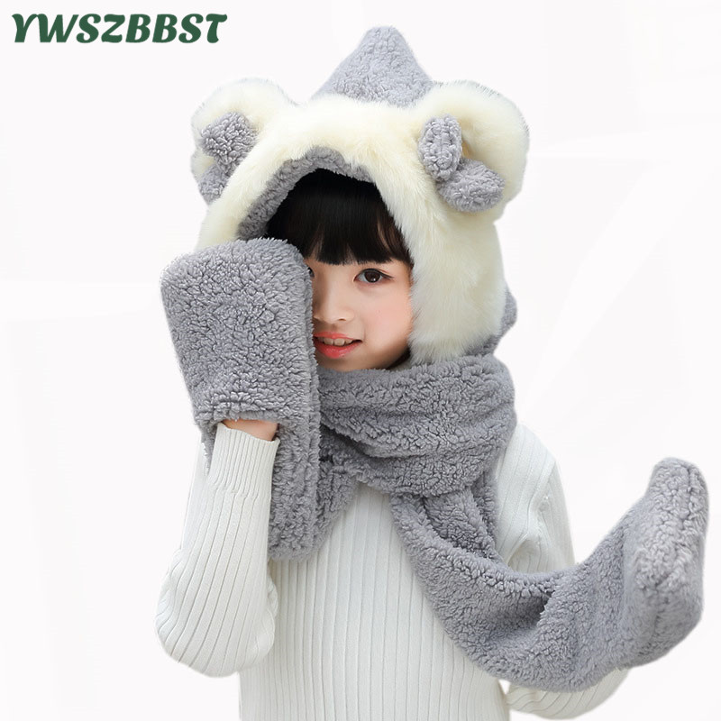 Fashion Children Hat Scarf Gloves Set With Ear Autumn Winter Plush Baby Boys Girls Cap Scarf Glove Baby Hat Kids Beanies Caps