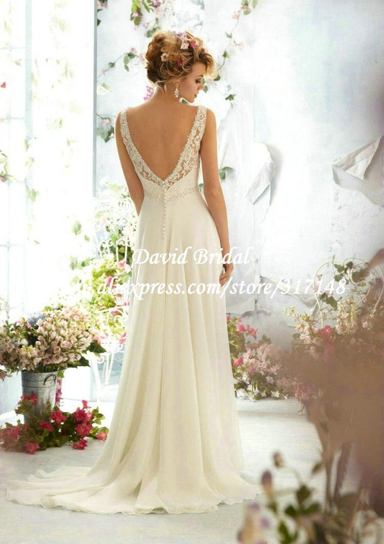 2014 sexy v neck lace beach wedding dress chiffon low back for Beach wedding dress low back
