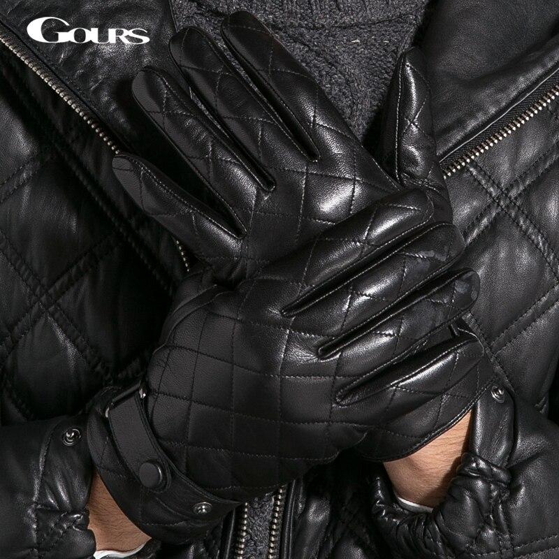 Gours Gloves 2018 Winter Fashion New Men Genuine Leather Gloves Goatskin Mittens Plaid Black Plus Velvet Warm Driving GSM013