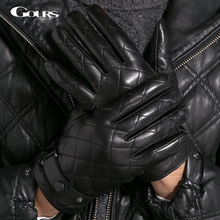 Gours Gloves 2017 Winter Fashion New Men Genuine Leather Gloves Goatskin Mittens Plaid Black Plus Velvet Warm Driving GSM013