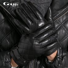 Gours rękawiczki zimowe moda nowe męskie oryginalne skórzane rękawiczki rękawiczki z koźlej skóry Plaid czarne z połyskiem aksamitne ciepłe jazdy GSM013 tanie tanio Dla dorosłych Genuine Leather Nadgarstek Finger gloves Men gloves Zhejiang China (Mainland) Black Goatskin Winter Warm Outdoor Driving Motorcycle