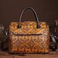 Genuine Leather First Layer Cowhide Women Handbag Embossing Pattern Design Shoulder Messenger Bag Famous Brand Ladies Tote Bags