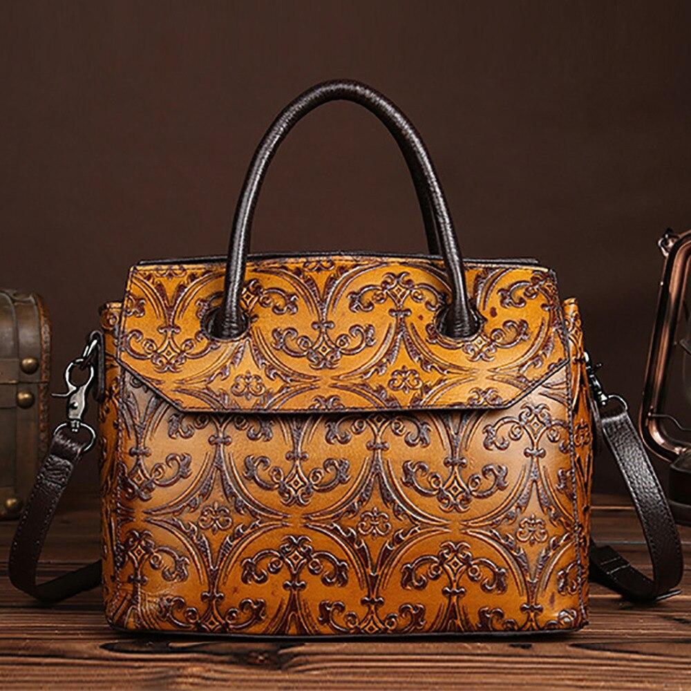 Véritable cuir première couche peau de vache femmes sac à main gaufrage motif conception épaule Messenger sac célèbre marque dames fourre-tout sacs