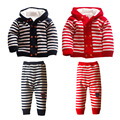 Russian Winter 2016 Children's Suits 1-4T Boys Thick Sweater Coat + Wool Pants 2 Sets Baby Clothes Striped Sets Gift Suit Infant