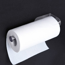 HIgh Sucker Toilet Paper Holders Rollpaper Holder  With Cover For Kitchen Wall Mounted SUS In Silver