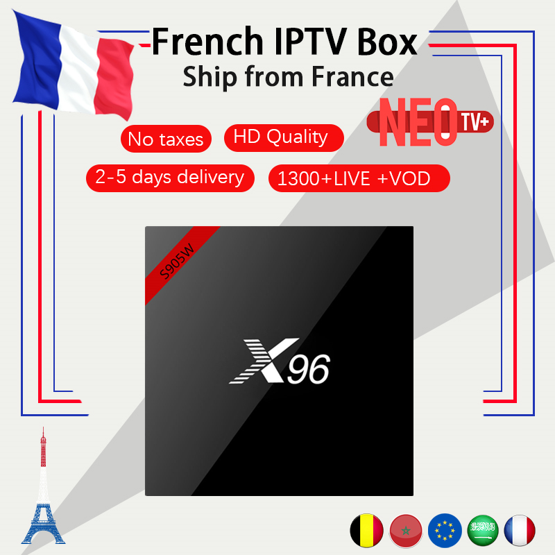 French New X96W android tv box android 7 1 with NEO iptv 1300 live and VOD