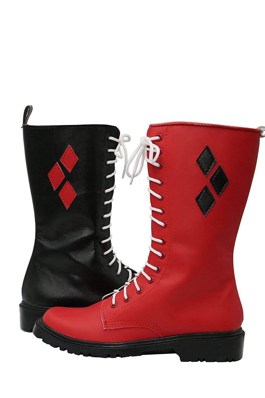 Harley Quinn Shoes Cosplay Batman Arkham Knight Harley Quinn Cosplay Boots Shoes Custom Made Harley Quinn