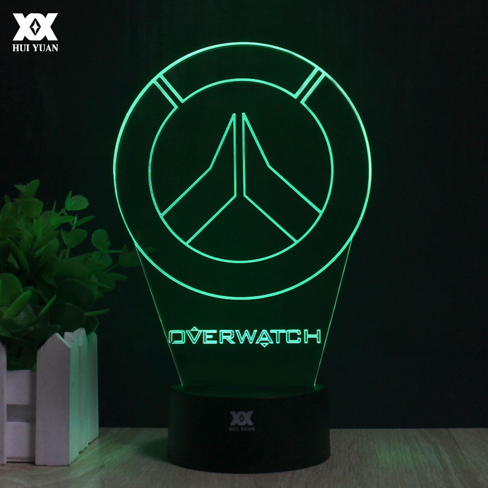 Overwatch OW 3D Lamp LED Acrylic Novelty Night Light USB Desktop Decorative Table Lamp Interesting Children Gifts HUI YUAN Brand batman 3d lamp led remote control night light usb 7 colors changing decorative table lamp interesting gift hui yuan brand