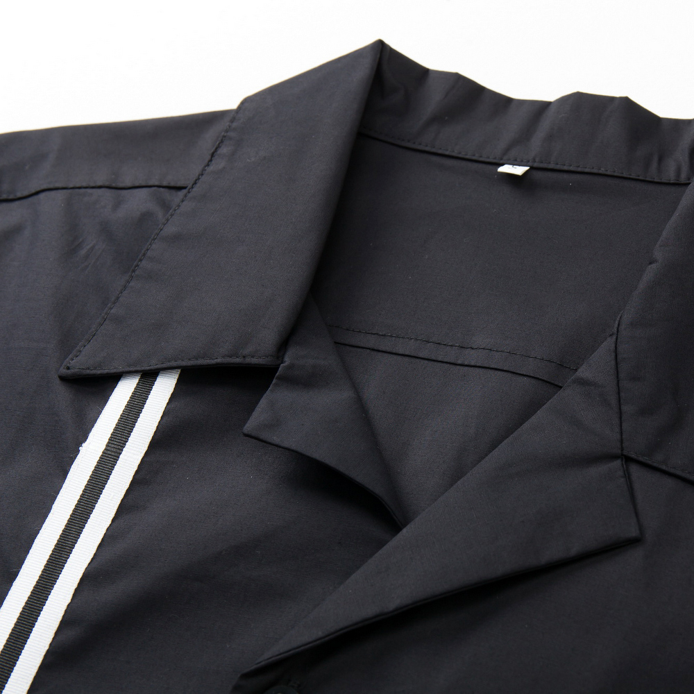 2018 Summer Casual Men Dress Shirt Short Sleeves Punk Rockabilly Black And White Stripe Fabric Print Male Shirt From Candowlook