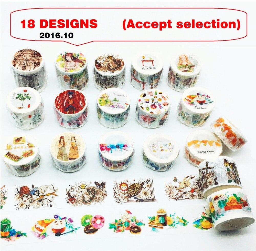 18Designs 20/30/40mm*7M Cake/Ginkgo/Girls/Butterfly/Snack/Food Pattern Japanese Washi Decorative Adhesive DIY Masking Paper Tape
