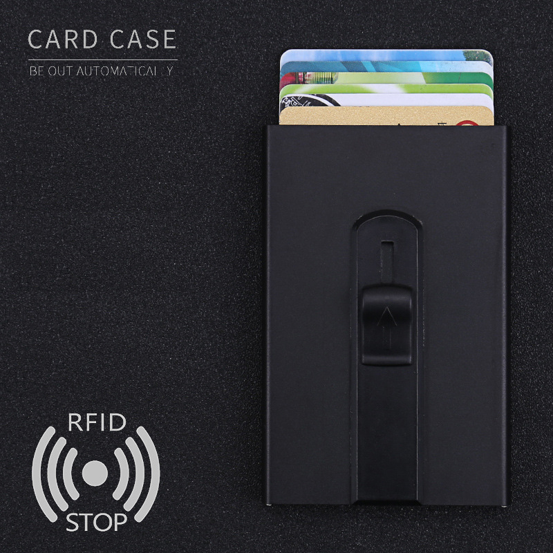 New 2018 Credit Card Holder Mens & Womens Minimalist Wallet Design Slim RFID Blocking Front Pocket Wallet Metal Bank Card Case