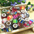 14MM Mixed Color Silver Plated Cord Big Hole Loose Beads Charms Fit Pandora Charms Jewelry Bracelet Findings100pcs/lot