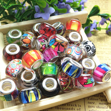 14MM Blended Colour Silver Plated Twine Massive Gap Unfastened Beads Charms Match Pandora Charms Jewellery Bracelet Findings100pcs/lot