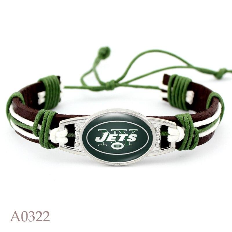 10 PCS NY Jets Football Team Real Leather Bracelet Adjustable Mens Real Leather Bracelet For Men and Women