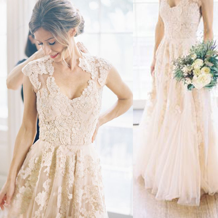 Robe De Mariage Elegant Zuhair Murad Wedding Dress Pink Cap Sleeve Vintage Lace Blush Train Vestidos Noiva In Dresses From Weddings