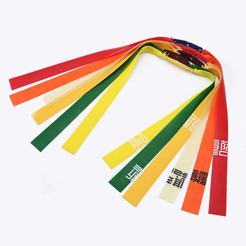 3pc Slingshots Flat Rubber Band Thicknes 0.5-0.8mm 6 Color Catapult Natural Latex Flat Elastic Resilient for Shooting
