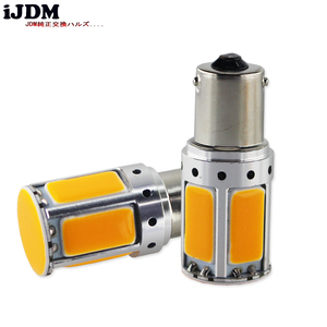 Image 2 - 2pcs No Resistor Required Amber Yellow COB LED BAU15S 7507 PY21W 1156PY LED Bulbs For Front Turn Signal Lights(No Hyper Flash)