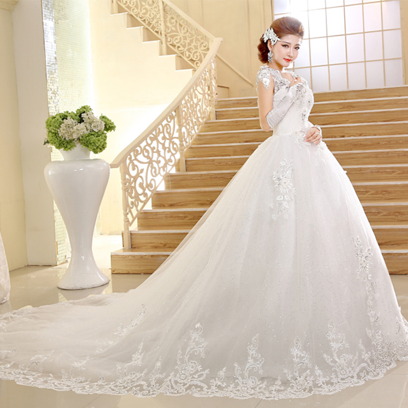 Empire Ball Gown Wedding Dresses: Empire Wedding Dress 2016 White Ivory Cap Sleeve Bridal