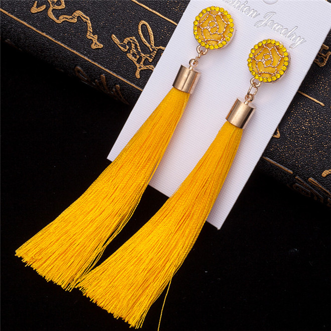 HTB1z6SyV3HqK1RjSZJnq6zNLpXaJ - HOCOLE Bohemian Crystal Tassel Earrings Black White Blue Red Pink Silk Fabric Long Drop Dangle Tassel Earrings For Women Jewelry