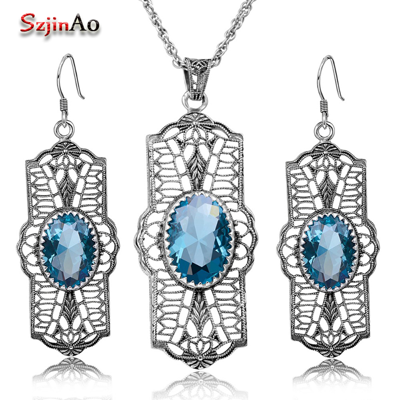 Szjinao Bohemia Design Oval Blue Rhinestone Crystal Vintage 925 Sterling Silver Jewelry Sets Party Dress Women Handmade Gift