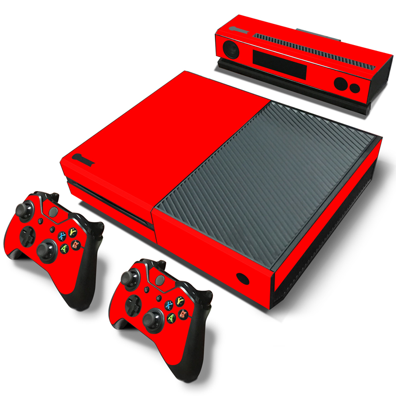 OSTSTICKER Red Waterproof Protective Vinyl Decal PVC Skin Sticker for Xbox One Console Set free shipping