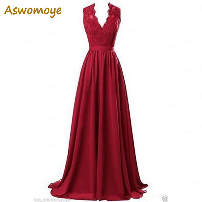 Aswomoye A Line   Evening     Dresses   2018 V-Neck Appliques Lace Royal Blue Red Black Chiffon Party Prom Gowns Custom Made